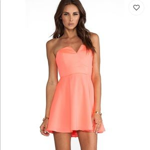 Naven bombshell dress in neon coral from Revolve